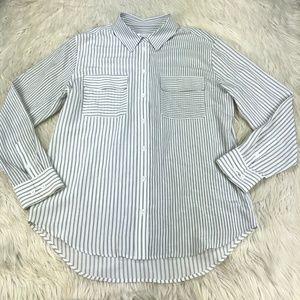 Equipment Mixed Stripe Silk Button Front Blouse